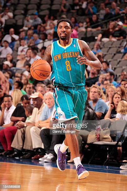 Roger Mason Jr #8 of the New Orleans Hornets handles the ball against the Dallas Mavericks on October 22 2012 at the American Airlines Center in...