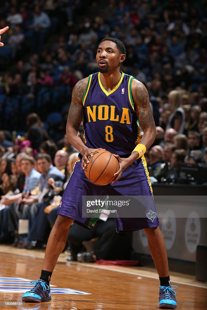 <a gi-track='captionPersonalityLinkClicked' href=/galleries/search?phrase=Roger+Mason+Jr.&family=editorial&specificpeople=220399 ng-click='$event.stopPropagation()'>Roger Mason Jr.</a> #8 of the New Orleans Hornets handles the ball against the Minnesota Timberwolves on February 2, 2013 at Target Center in Minneapolis, Minnesota.