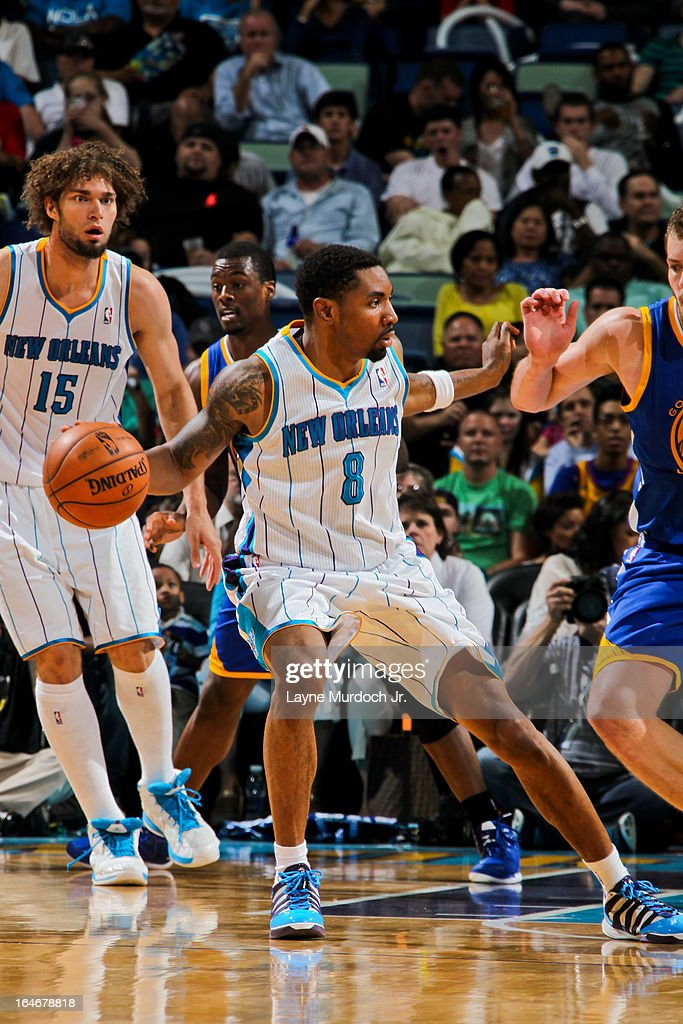 <a gi-track='captionPersonalityLinkClicked' href=/galleries/search?phrase=Roger+Mason+Jr.&family=editorial&specificpeople=220399 ng-click='$event.stopPropagation()'>Roger Mason Jr.</a> #8 of the New Orleans Hornets looks to pass the ball against the Golden State Warriors on March 18, 2013 at the New Orleans Arena in New Orleans, Louisiana.