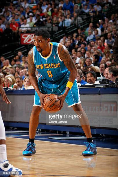 Roger Mason Jr #8 of the New Orleans Hornets looks to pass the ball against the Dallas Mavericks on April 17 2013 at the American Airlines Center in...