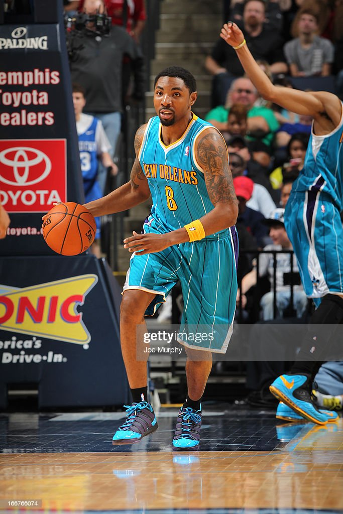 <a gi-track='captionPersonalityLinkClicked' href=/galleries/search?phrase=Roger+Mason+Jr.&family=editorial&specificpeople=220399 ng-click='$event.stopPropagation()'>Roger Mason Jr.</a> #8 of the New Orleans Hornets moves the ball up-court against the Memphis Grizzlies on March 9, 2013 at FedExForum in Memphis, Tennessee.