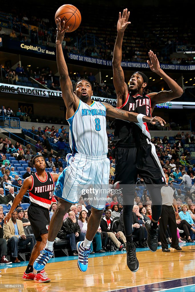 Roger Mason Jr. #8 of the New Orleans Hornets shoots a layup against Will Barton #5 of the Portland Trail Blazers on February 13, 2013 at the New Orleans Arena in New Orleans, Louisiana.