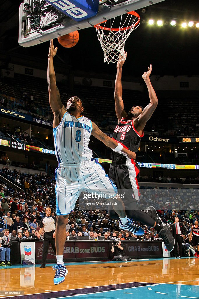 Roger Mason Jr. #8 of the New Orleans Hornets shots a layup against Will Barton #5 of the Portland Trail Blazers on February 13, 2013 at the New Orleans Arena in New Orleans, Louisiana.