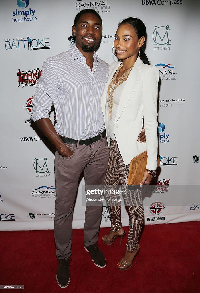 Roger Mason Jr (L) and guest arrive at South Beach Battioke 2014 at Fillmore Miami Beach on January 27, 2014 in Miami Beach, Florida.