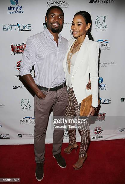 Roger Mason Jr and guest arrive at South Beach Battioke 2014 at Fillmore Miami Beach on January 27 2014 in Miami Beach Florida