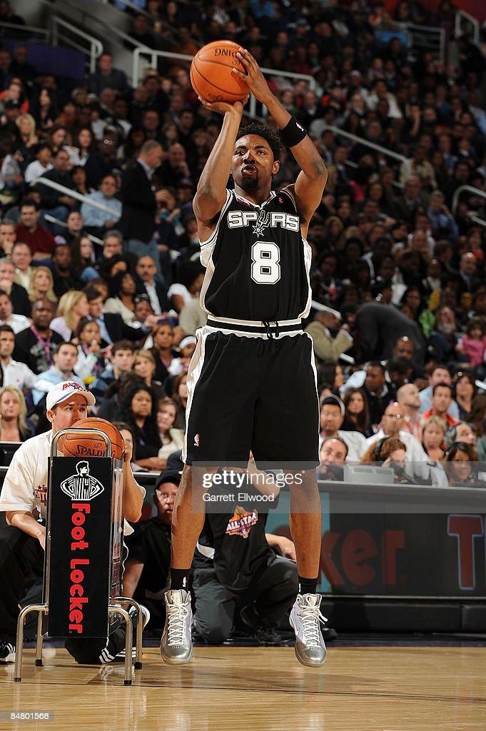Roger Mason of the San Antonio Spurs participates in the Foot Locker ThreePoint Shootout on AllStar Saturday Night part of 2009 NBA AllStar Weekend...