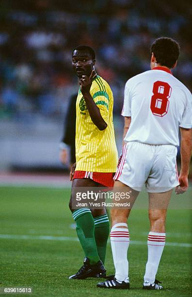 Roger Milla and Gennady Litovchenko during the 1990 Soccer World Cup match between USSR and Cameroon