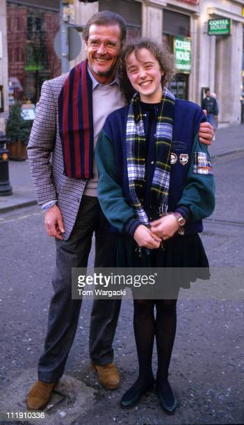 Roger Moore and Diana Morrison during 'Aspects of Love' Press Conference at London in London Great Britain