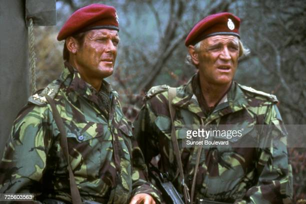 Roger Moore and Richard Harris in 'The Wild Geese' directed by Andrew V McLaglen South Africa 1978