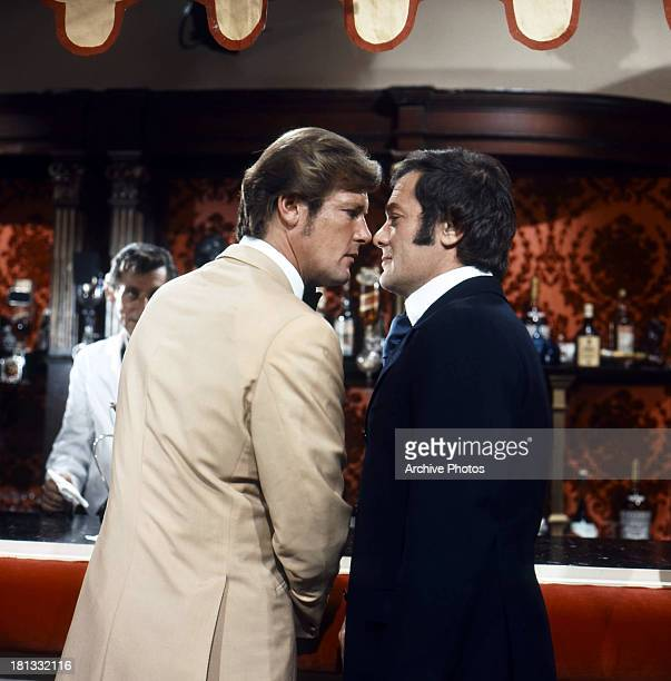 Roger Moore confronts Tony Curtis in a scene from the TV series 'The Persuaders' 1971