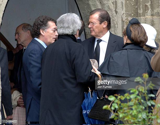 Roger Moore during Funeral of Actor Sir John Mills April 27 2005 at The Parish Church of Saint Mary the Virgin in Denham Great Britain