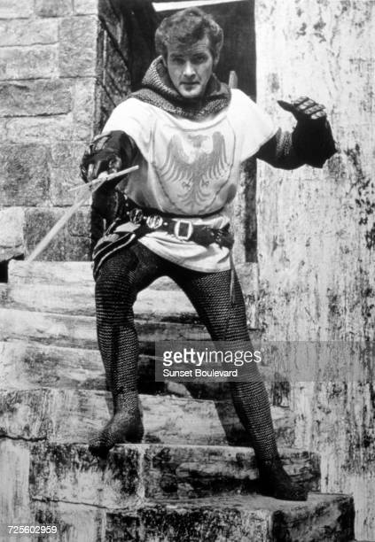 Roger Moore in his first starring role as Sir Wilfred of Ivanhoe in a promotional portrait for the TV series 'Ivanhoe' 1958