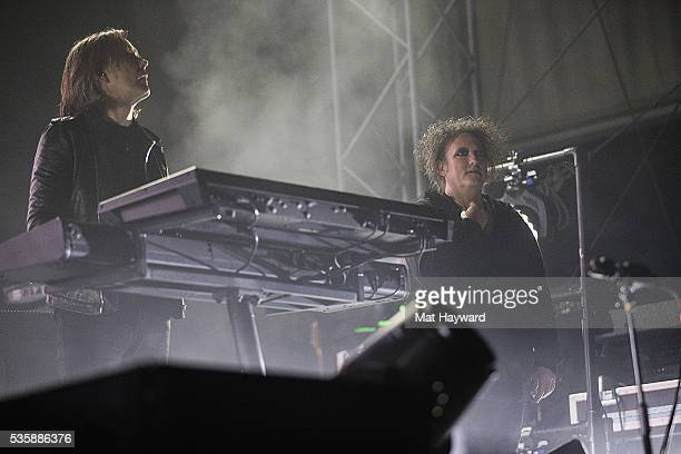 Roger O'Donnell and Robert Smith of The Cure performs on stage during the Sasquatch Music Festival at Gorge Amphitheatre on May 29 2016 in George...
