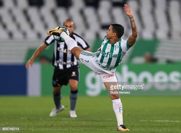 Roger of Botafogo struggles for the ball with Dudu of Palmeiras during a match between Botafogo and Palmeiras as part of Brasileirao Series A 2017 at...
