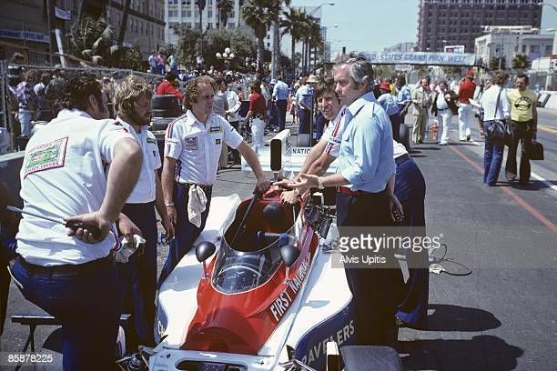Roger Penske with his Penske PC3 at the first United States Grand Prix West held on March 28 1976 in Long Beach California