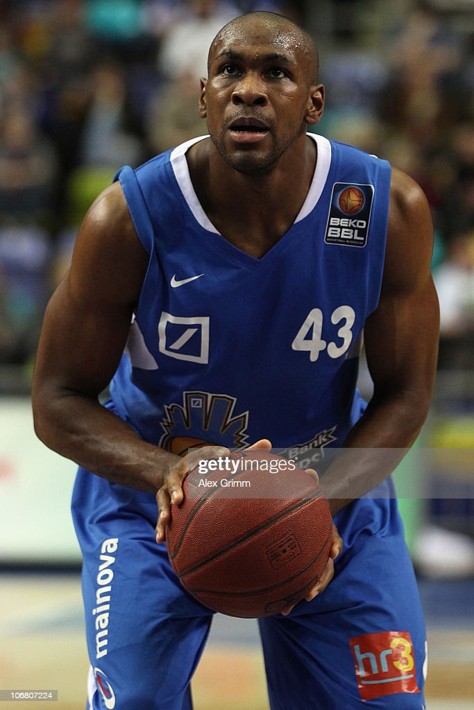 Roger Powell of Frankfurt in action during the Beko Basketball Bundesliga match between Deutsche Bank Skyliners and EnBW Ludwigsburg at the Ballsporthalle on November 10, 2010 in Frankfurt am Main, Germany.