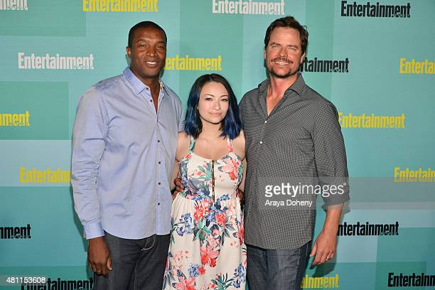 Roger R Cross Jodelle Ferland and Anthony Lemke arrive at the Entertainment Weekly celebration at Float at Hard Rock Hotel San Diego on July 11 2015...