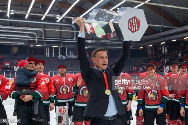 Roger Ronnberg head coach of Frolunda Gothenburg celebrates after wining the Champions Hockey League Final between Frolunda Gothenburg and Sparta...