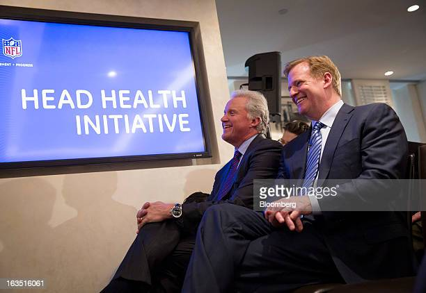 Roger S Goodell commissioner of the National Football League left and Jeffrey 'Jeff' Immelt chairman and chief executive officer of General Electric...