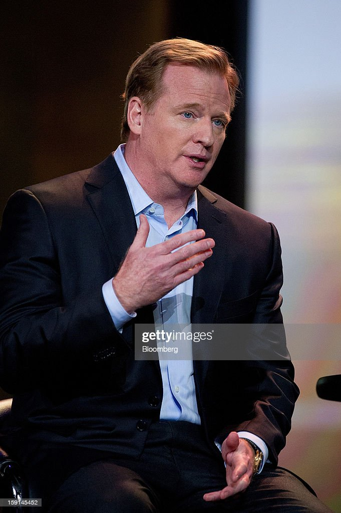 Roger S. Goodell, commissioner of the National Football League, speaks during a keynote address at the 2013 Consumer Electronics Show in Las Vegas, Nevada, U.S., on Tuesday, Jan. 8, 2013. The 2013 CES trade show, which runs until Jan. 11, is the world's largest annual innovation event that offers an array of entrepreneur focused exhibits, events and conference sessions for technology entrepreneurs. Photographer: David Paul Morris/Bloomberg via Getty Images