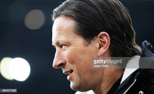 Roger Schmidt Head Coach of Bayer Leverkusen before the Bundesliga match between FC Augsburg and Bayer 04 Leverkusen at SGL Arena on February 21 2015...