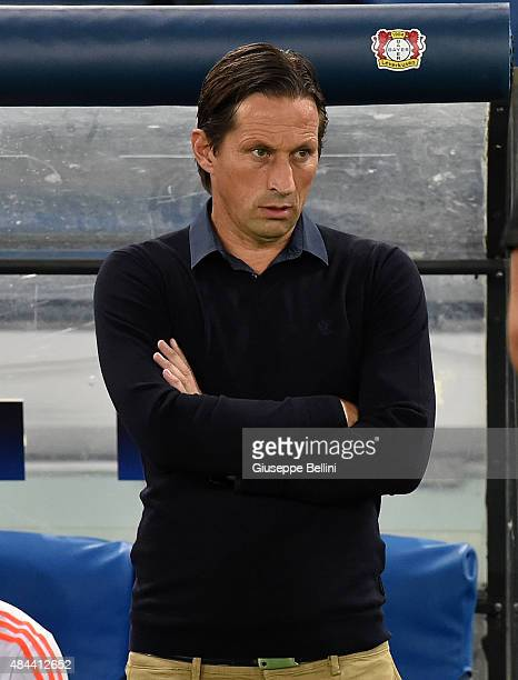 Roger Schmidt head coach of Bayer Leverkusen during the UEFA Champions League qualifying round play off first leg match between SS Lazio and Bayer...