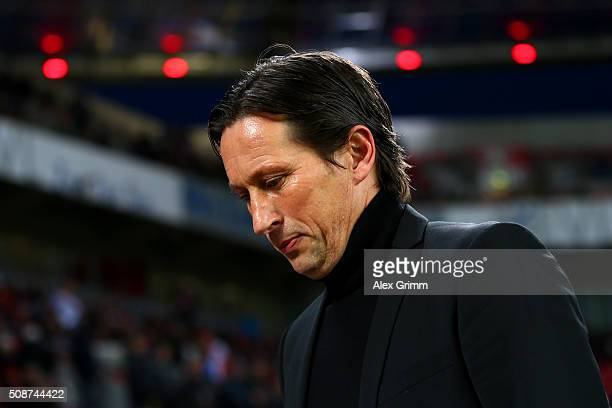 Roger Schmidt Head Coach of Bayer Leverkusen looks on before the Bundesliga match between Bayer Leverkusen and FC Bayern Muenchen at BayArena on...