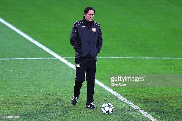 Roger Schmidt head coach of Bayer Leverkusen looks on during the Bayer 04 Leverkusen Training Session ahead of their UEFA Champions League match...