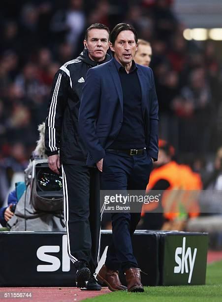 Roger Schmidt head coach of Bayer Leverkusen looks on during the Bundesliga match between Bayer Leverkusen and Borussia Dortmund at BayArena on...