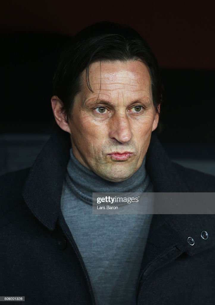 <a gi-track='captionPersonalityLinkClicked' href=/galleries/search?phrase=Roger+Schmidt+-+Soccer+Manager&family=editorial&specificpeople=13515848 ng-click='$event.stopPropagation()'>Roger Schmidt</a> head coach of Bayer Leverkusen looks on prior to the DFB Cup Quarter Final match between Bayer Leverkusen and Werder Bremen at BayArena on February 9, 2016 in Leverkusen, Germany.