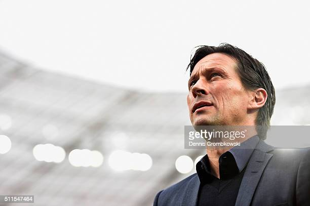 Roger Schmidt head coach of Bayer Leverkusen looks on prior to the Bundesliga match between Bayer Leverkusen and Borussia Dortmund at BayArena on...