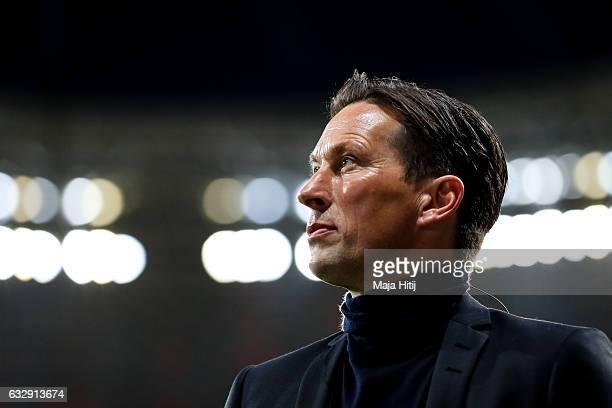 Roger Schmidt head coach of Leverkusen arrives prior the Bundesliga match between Bayer 04 Leverkusen and Borussia Moenchengladbach at BayArena on...