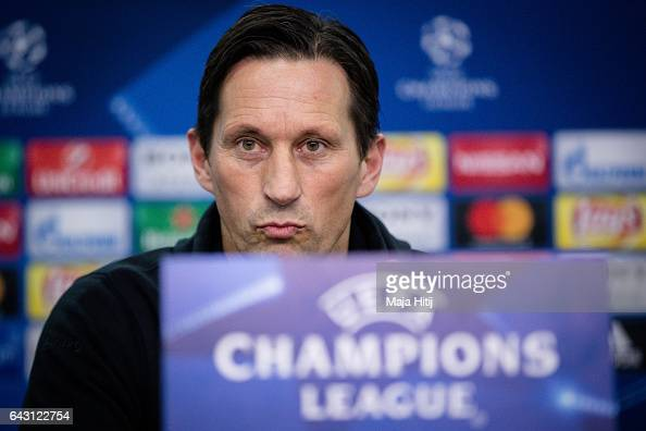 Roger Schmidt head coach of Leverkusen attends the press conference prior the UEFA Champions League Round of 16 first leg match between Bayer...