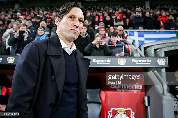 Roger Schmidt head coach of Leverkusen looks on prior the Bundesliga match between Bayer 04 Leverkusen and FC Ingolstadt 04 at BayArena on December...