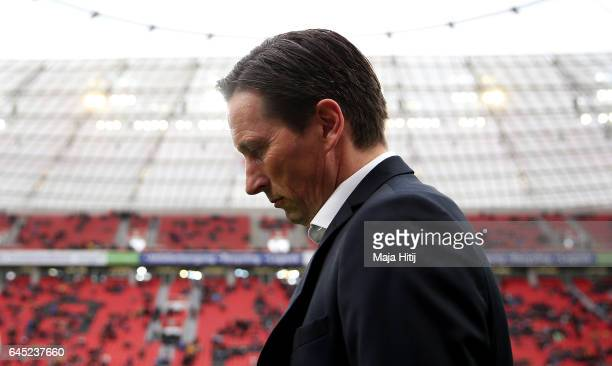 Roger Schmidt head coach of Leverkusen reacts before the Bundesliga match between Bayer 04 Leverkusen and 1 FSV Mainz 05 at BayArena on February 25...