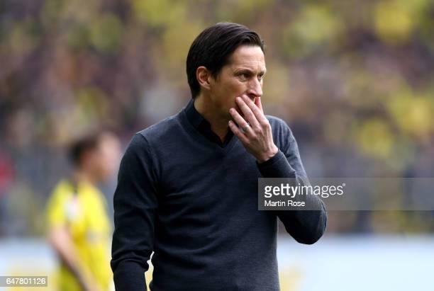 Roger Schmidt head coach of Leverkusen reacts during the Bundesliga match between Borussia Dortmund and Bayer 04 Leverkusen at Signal Iduna Park on...