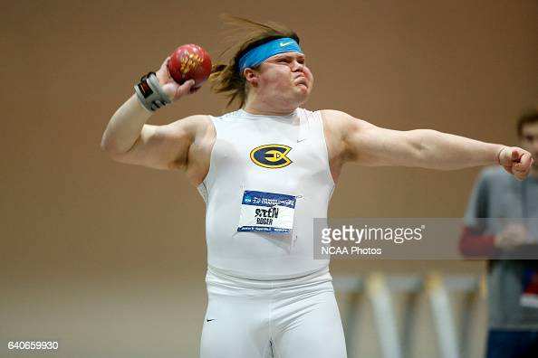 Roger Steen of Wisconsin Eau Claire placed 3rd in the Men's Shot Put during the Division III Men's and Women's Indoor Track and Field Championships...