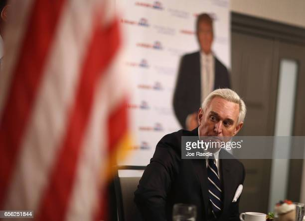 Roger Stone a longtime political adviser and friend to President Donald Trump arrives before signing copies of his book 'The Making of the President...