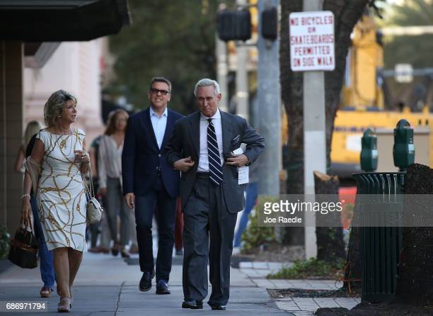 Roger Stone a longtime political adviser and friend to President Donald Trump arrives to speak during a visit to the Women's Republican Club of Miami...