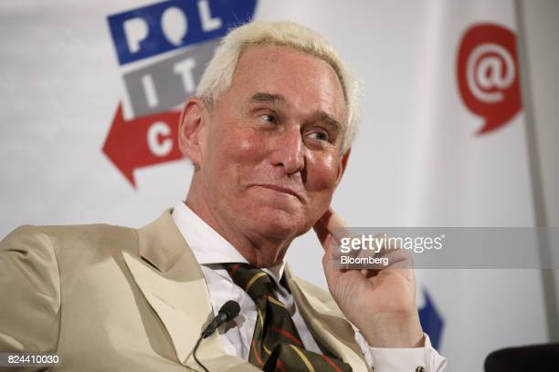 Roger Stone former adviser to Donald Trump's presidential campaign listens during the Politicon convention inside the Pasadena Convention Center in...