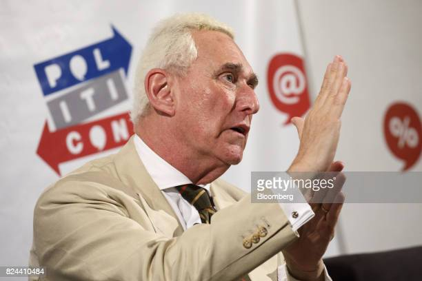 Roger Stone former adviser to Donald Trump's presidential campaign speaks during the Politicon convention inside the Pasadena Convention Center in...
