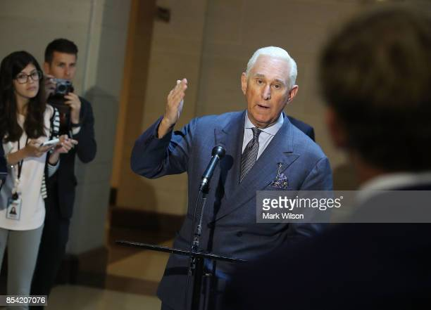 Roger Stone former confidant to President Trump speaks to the media after appearing before the House Intelligence Committee closed door hearing...