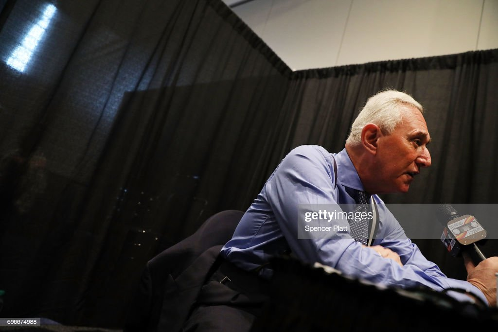 Roger Stone, GOP political operative and longtime Donald Trump advisor, speaks about the legalization of marijuana at the Cannabis World Congress Conference on June 16, 2017 in New York City. Billed as 'the leading trade show and conference for the legalized cannabis, medical marijuana, and industrial hemp industries,' the 4th annual conference brings together dozens of both small and large businesses involved in the growing hemp and marijuana market.