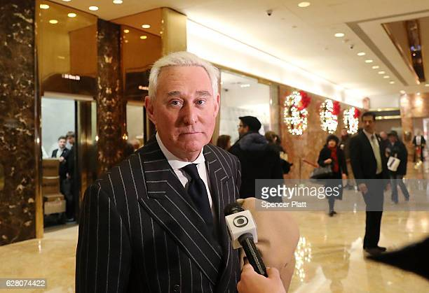 Roger Stone speaks to the media at Trump Tower on December 6 2016 in New York City Potential members of Presidentelect Donald Trump's cabinet have...