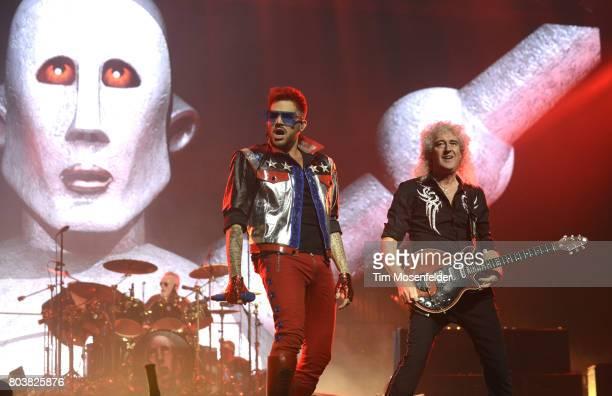 Roger Taylor Adam Lambert and Brian May of Queen Adam Lambert perform at SAP Center on June 29 2017 in San Jose California