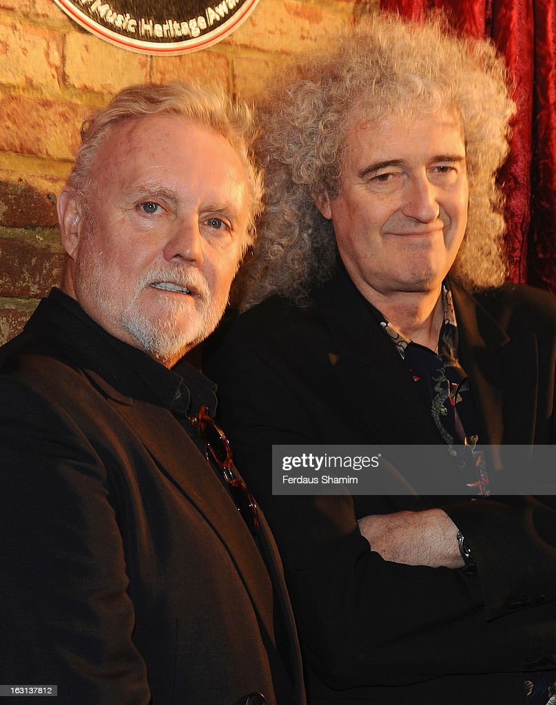 Roger Taylor and Brian may attend a photocall as Queen are awards The Heritage award at Imperial College London on March 5, 2013 in London, England.