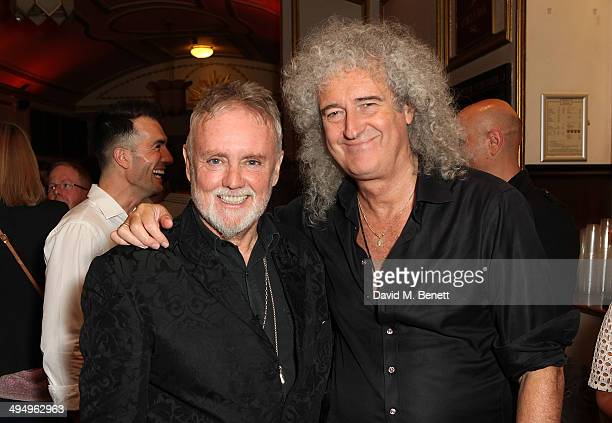 Roger Taylor and Brian May attend the final performance of 'We Will Rock You' at the Dominion Theatre on May 31 2014 in London England