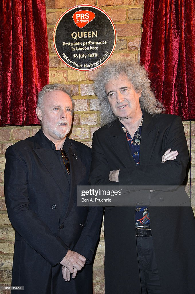 Roger Taylor and <a gi-track='captionPersonalityLinkClicked' href=/galleries/search?phrase=Brian+May&family=editorial&specificpeople=158059 ng-click='$event.stopPropagation()'>Brian May</a> attends a photocall as Queen are awarded The Heritage award at Imperial College London on March 5, 2013 in London, England.