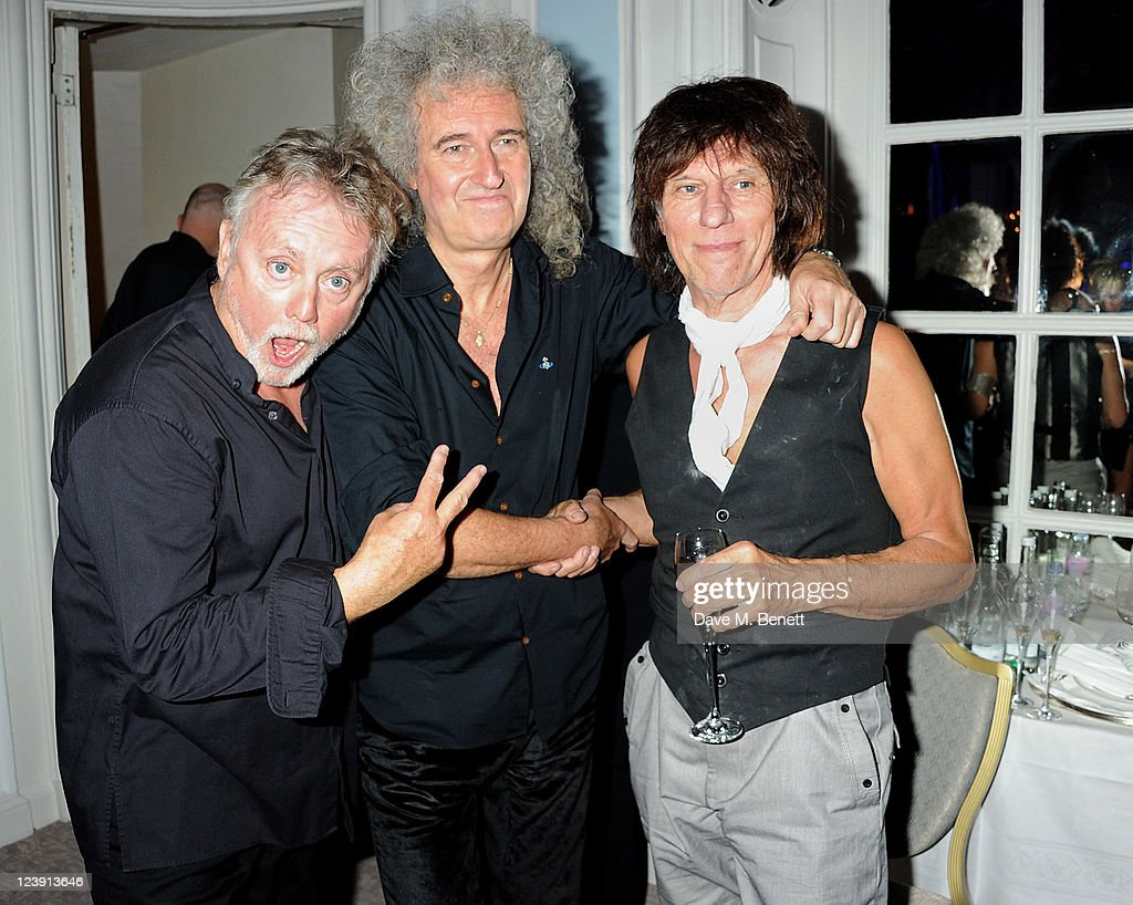 Roger Taylor, Brian May and Jeff Beck attend 'Freddie For A Day', celebrating Freddie Mercury's 65th birthday, in aid of The Mercury Pheonix Trust at The Savoy Hotel on September 5, 2011 in London, England.