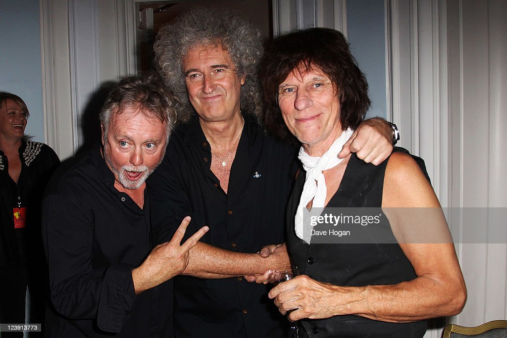 L-R Roger Taylor, Brian May and Jeff Beck attend the Freddie For A Day 65th birthday anniversary party at The Savoy Hotel on September 5, 2011 in London, United Kingdom.